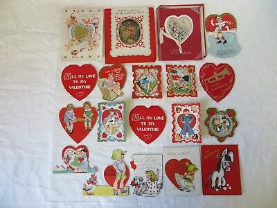 Vintage Valentine Cards 1930's - 1950's Lot of 19 #6365