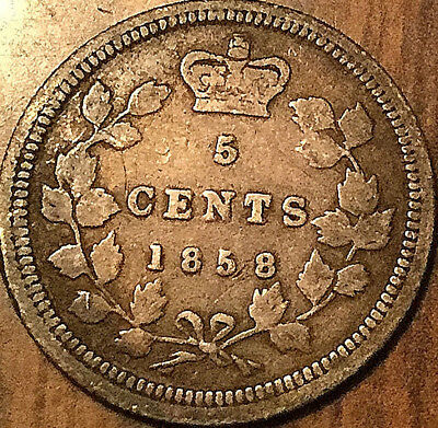 1858 CANADA 5 CENTS SILVER FIVE CENTS COIN QUEEN VICTORIA - Small date