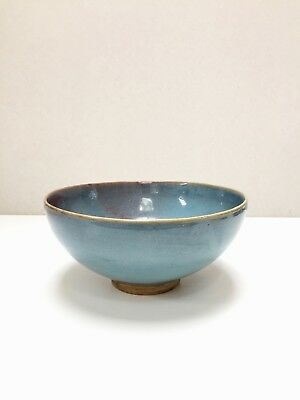 SPLENDID LARGE ANTIQUE Chinese BLUE GLAZED BOWL