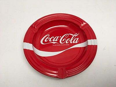Authentic Vintage Coca Cola Red & White Metal Ashtray - Mint!