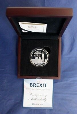 """2016 1oz Silver Proof Medallion """"Brexit - Article 50"""" in Case with COA  (V10/10)"""