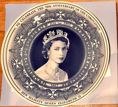 2 Wedgewood plates- Celebrating the 50th Anniversary of HM the Queens Coronation