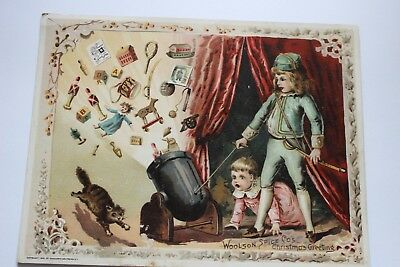 """1891 """"Woolson Spice Co's Christmas Greeting"""" Trade Card/Boy Shooting Cannon"""