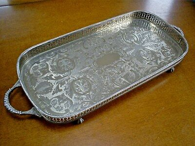 Superb Vintage Sheffield/england Silver Plate On Copper Pierced Gallery Tray
