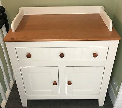 Baby Changing Station Unit - White & Wood two-tone with drawer and cupboard