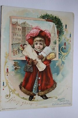 """1891 """"Woolson Spice Co's, Christmas Greeting"""" Trade Card """"Xmas Shopping"""""""