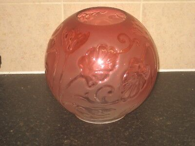 Fine Victorian Moulded  Cranberry Glass Floral Globe Oil Lamp Shade