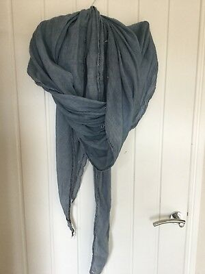 Pale Blue Oversized Cotton Designer Scarf By Yerse