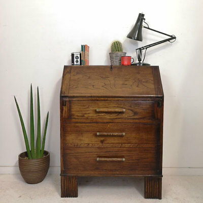 Vintage Art Deco Dark Oak Bureau Desk + Drawers