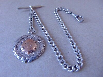 Antique Sterling Silver Albert Watch Chain 1920, Silver & Gold Fob