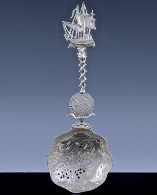 EXCELLENT c1900 LARGE GERMAN STERLING SILVER SHIP FIGURAL PIERCED SERVING SPOON
