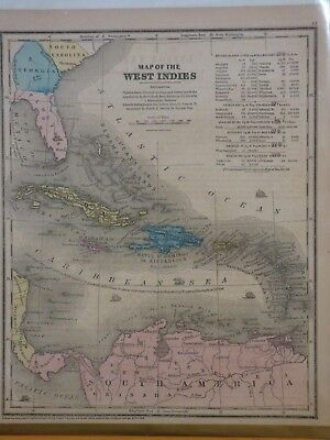 1853 Burgess map of the West Indies- Cuba Jamaica Hispaniola Porto Rico, Florida