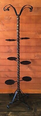 VTG MID CENTURY WROUGHT IRON Wooden Spindle Plant Stand & Hanger