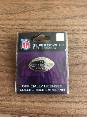 NFL Super Bowl 52 LII 2018 Lapel trading pin Wincraft SILVER FOOTBALL RARE