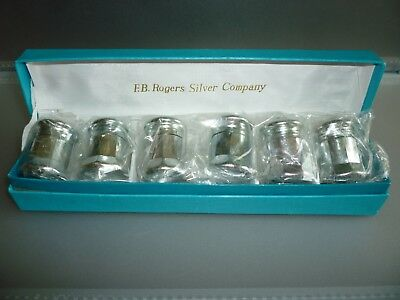 Set of 6  F.B. Rogers Silver Co Glass Salt And Pepper Shakers Silver plated 440