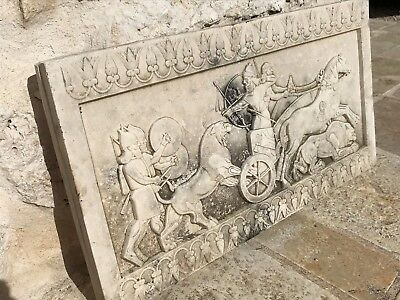 Antique Reproduction ASHURBANIPAL Marble and cement Bas Relief Panel