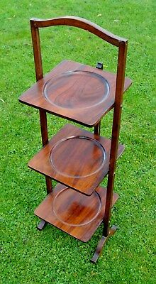 1920s WOODEN 3 TIER FOLDING CAKE STAND in MAHOGANY rather nice condt