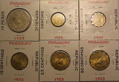 Six Republic Of Paraguay Coins - 10 25 50 Pesos Centimos 1939 1950 1953