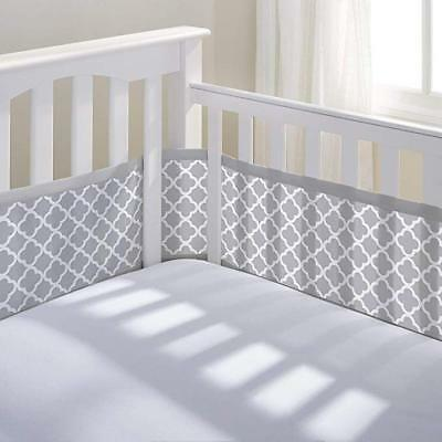 BreathableBaby Gray Clover Breathable Mesh Printed Crib Liner Free S/H