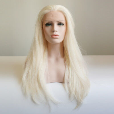 "24"" Light Blonde Lace Front Wig Straight Synthetic Fiber Hair Women"