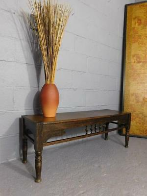 A Good Antique Arts & Crafts Oak Window Seat Or Hall Bench