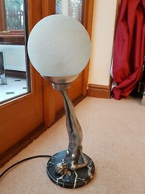REPRODUCTION 1930s ART DECO LADY TABLE DESK LAMP LIGHT CRACKLE GLASS SHADE
