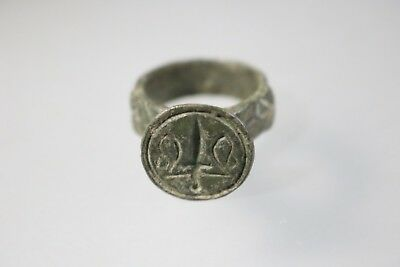 Ancient Fantastic Medieval Bronze Templar Ring 11th 13th century AD