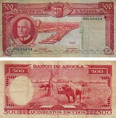 PORTUGAL ANGOLA 500 Escudos Currency Banknote 1970 VG+ S/N 33434 !!