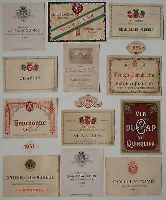 12 Vintage French Wine Bottle labels Dating to the 1930's and early 1940's