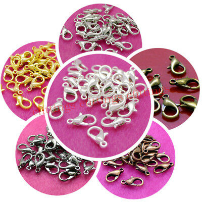 100x Jewelry Making Lobster Clasps 12*6mm Silver Gold Bronze Black Copper Plated