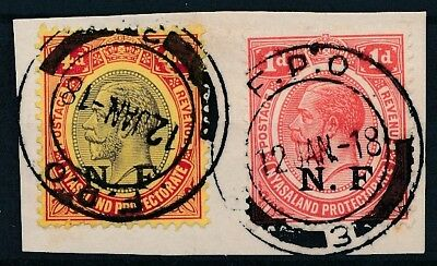 [39015] Nyassaland 1916/18 Two good stamps on piece Very Fine used