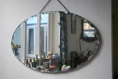 Large original art deco era oval bevel edged frameless wall mirror