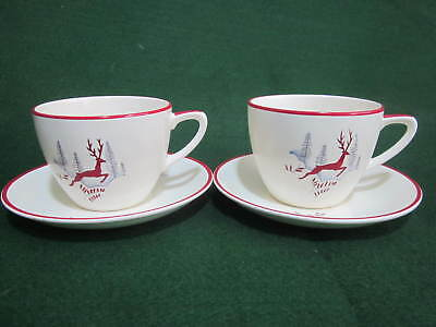 Two Vintage 1950's Crown Devon Stockholm Red Leaping Deer Tea Cups & Saucers