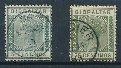 [39246] Morocco Gibraltar Two good old stamps Very Fine used Rabat Tangier