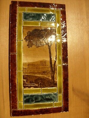 Antique Decorative Art Tile 12 inch x 6 inch Unusual