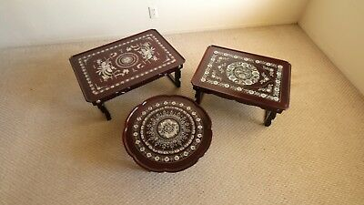 A Set Of 3 Oriental Beautiful Korean Deco Antique Foldable Small Tables