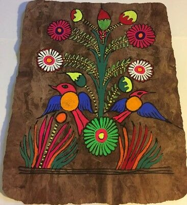 "Vintage Mexican Amate Bark Painting Hand Painted Folk Art 14.5 x 11"" Free Ship"