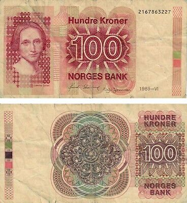 NORWAY 100 HUNDRE Kronur 1989 Currency Norges Banknote VERY GOOD +