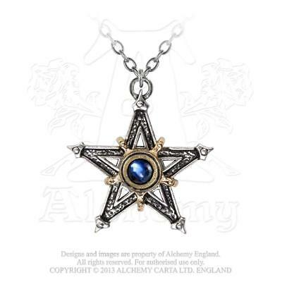 Alchemy - Mediaeval Pentacle - Pewter and Crystal Necklace