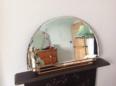 Rose-gold Vintage Art Deco Frameless bevelled edge 1930's Mirror with chain