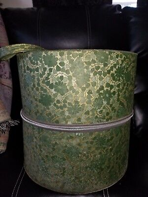Vintage Hat Wig Box Removable Bottom Green & Gold