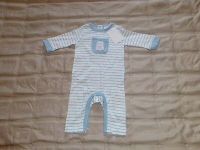 Bnwt The Little White Company Baby Grow - Blue / White Stripe - Size 0-3 Mths