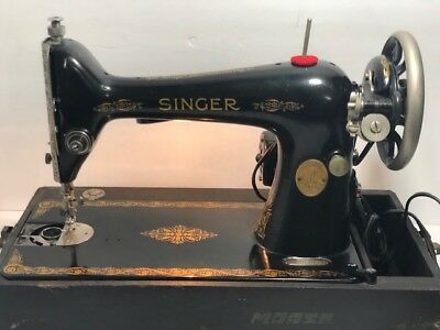 Antique 1925 Singer Red Eye Model 66 Sewing Machine Electric w/Case