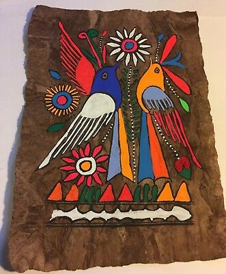"Vintage Mexican Amate Bark Painting Hand Painted Folk Art 12 1/4""x 8 3/4"""