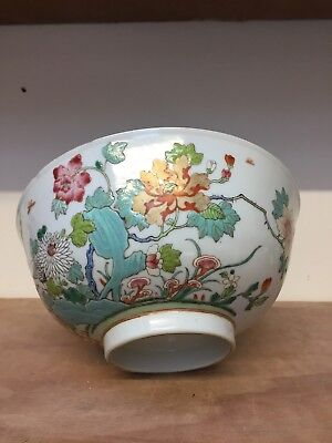 Good Large Chinese Bowl With Flowers And Mark