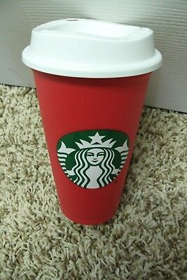 Starbucks Christmas Holiday Red Reusable 16oz Cold Hot Coffee Cup 2018 NEW