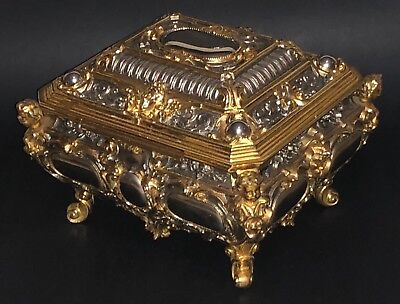 Antique French Or German Gold Silver Plated Barroco Style Jewelry Box Casket