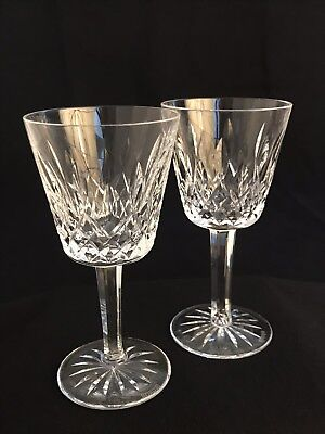 """2 Brilliant Waterford Crystal """"Lismore"""" Claret Wine Glasses ~ Made In Ireland"""