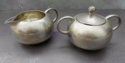 Vintage Royal Holland Pewter KMD Tiel Creamer & Sugar Bowl + Lid Set Deco Retro