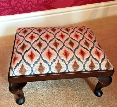 Antique Wooden Small Footstool - Cross Stitch Cover